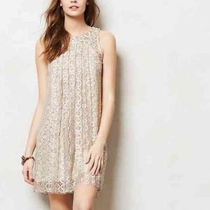 Ivory Shimmer Lace Pleated Shift Dress